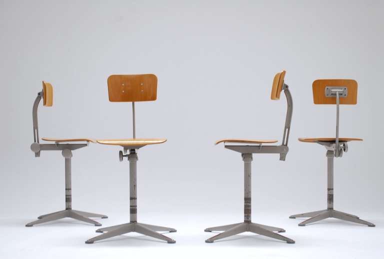 4 Adjustable architect chairs by Friso K